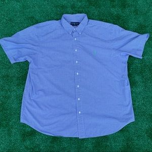 RALPH LAUREN BLAKE S/S BLUE & WHITE BUTTON DOWN 2X